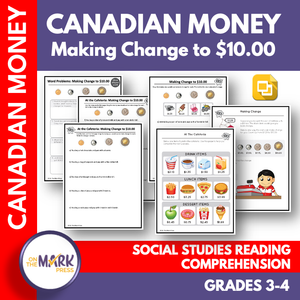 Making Change to $10 with Canadian Money Grades 3-4 Google Slides & Printables