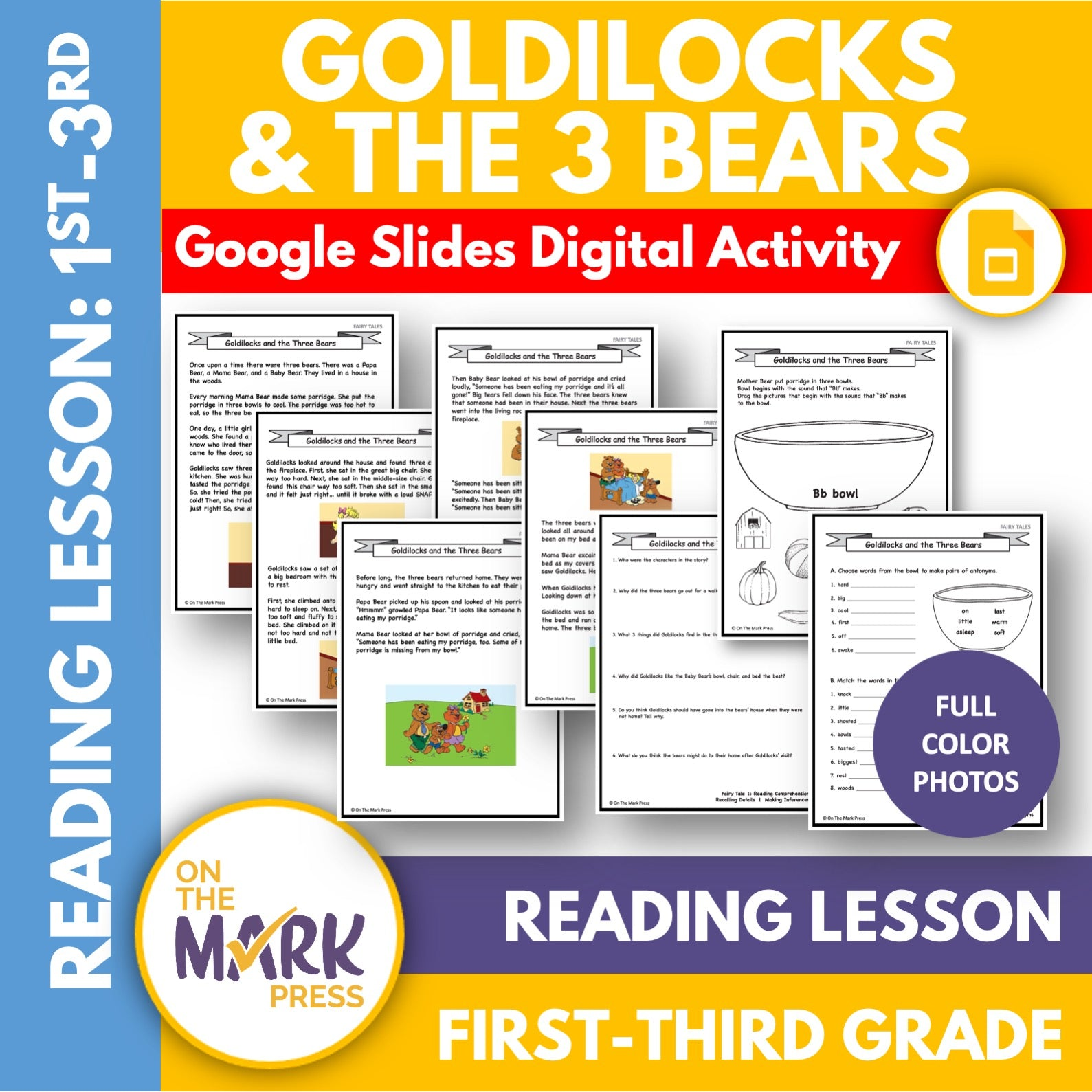 Goldilocks and the Three Bears Gr. 1-3 Google Slides & Printables