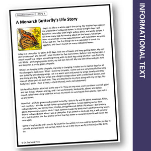 Canadian Insects: Monarch Butterfly's Life Story Reading Gr 1-3 Google Slides