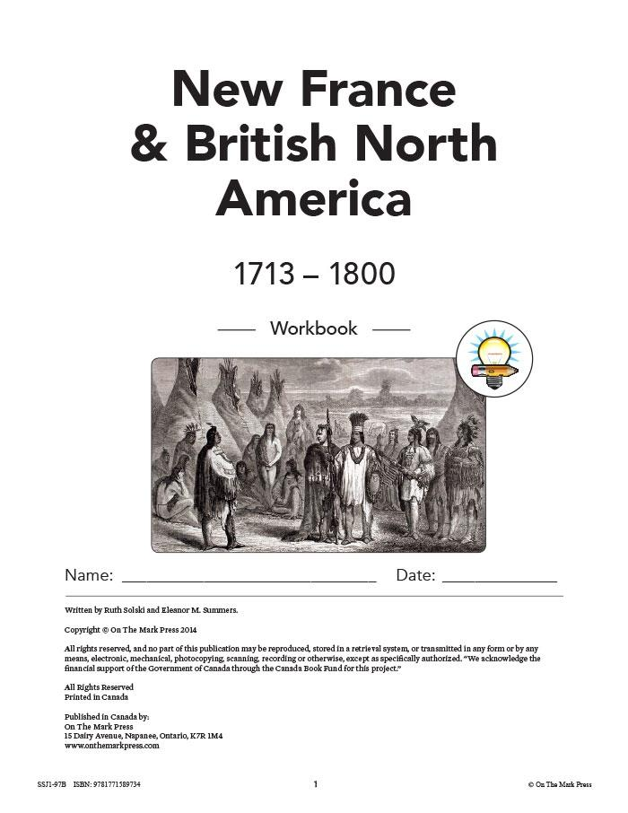 New France & British North America 1713-1800 Grades 7: 10/pk workbooks