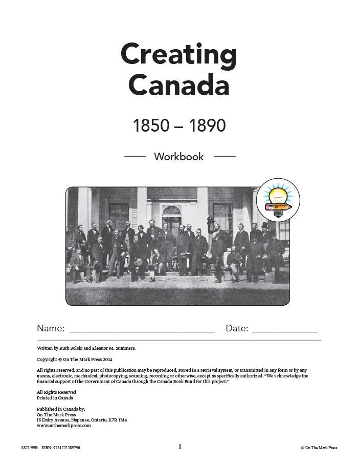 Creating Canada 1850-1890 Grade 8 - 10/pk workbooks