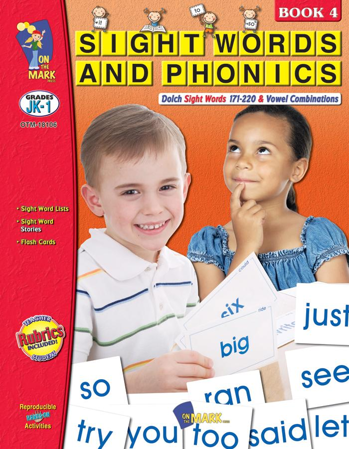Sight Words & Phonics Book 4 Grades Junior Kindergarten to Grade 1