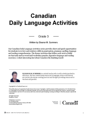 Canadian Daily Language Activities Grade 3