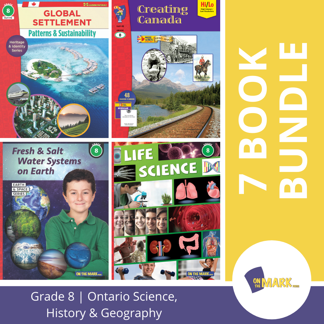 Ontario Grade 8 Science, History & Geography 7 Book Bundle!