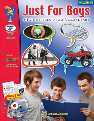 Just for Boys - High/Low Reading Comprehension Grades 4+, Reading Level 1.2 to 2.9
