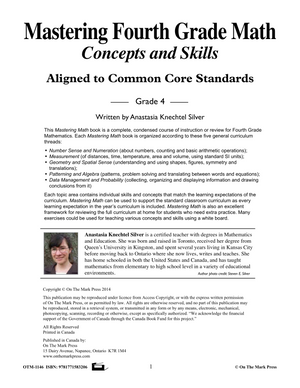 Mastering Fourth Grade Math - US Version- Aligned to Common Core