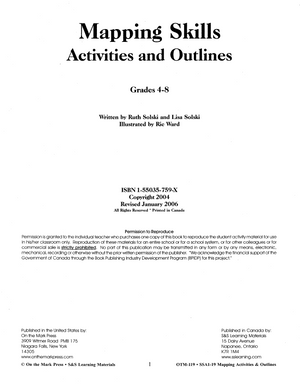 Mapping Skills: Activities & Outlines Grades 4-8