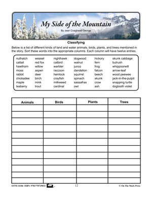 My Side of the Mountain, by Jean Craighead George Lit Link Grades 7-8