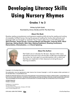 Developing Literacy Skills Using 17 Nursery Rhymes Grades 1-3 - Common Core