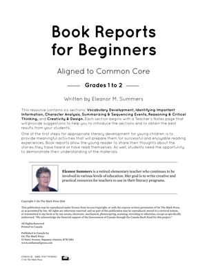 Book Reports for Beginners Grades 1-2 Aligned to Common Core