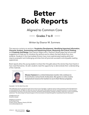 Better Book Reports Grades 7-8 Aligned to Common Core