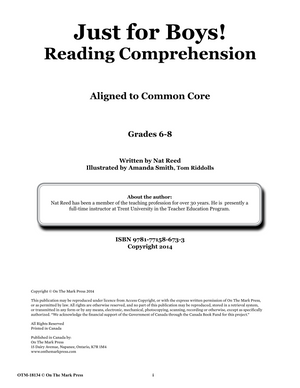 Just for Boys Grades 6-8 Reading Comprehension: Aligned to Common Core