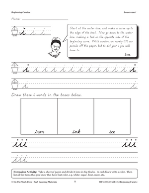 Modern Cursive Handwriting Beginning Workbook Grades 2-4