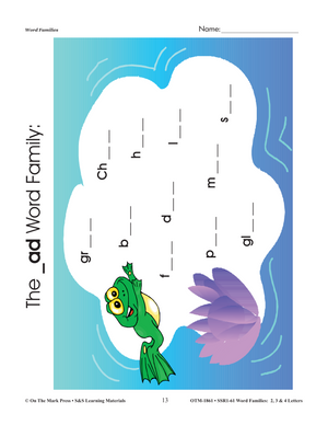 Word Families 2, 3 & 4 Letters Big Book Grades 1-3