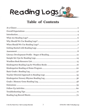 Reading Logs Grades Kindergarten to Grade 1 - The Home and School Connection