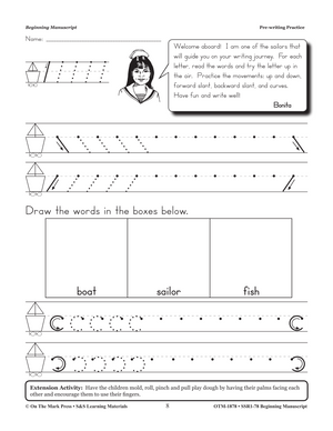 Traditional Manuscript Beginning Workbook Grades PreK-2