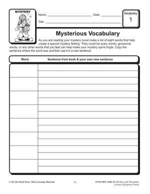 Mystery & Adventure Response Forms: Vocabulary Development  4-6