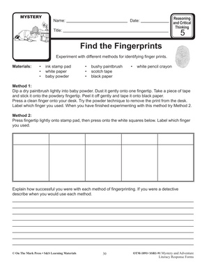 Mystery & Adventure: Reasoning & Critical Thinking Forms Gr. 4-6