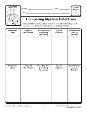 Mystery & Adventure: Character Analysis Response Forms Gr. 4-6