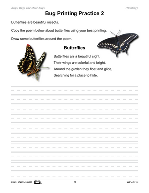 Insects Printing Activities and Worksheets Grades 2-3