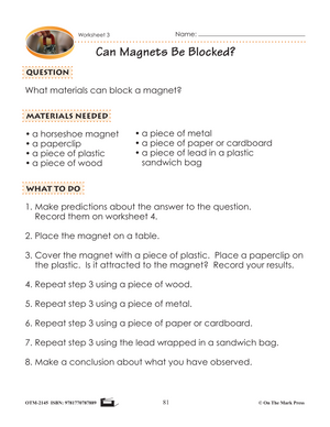Magnetic Strength Lesson & Six Worksheets Grade 2