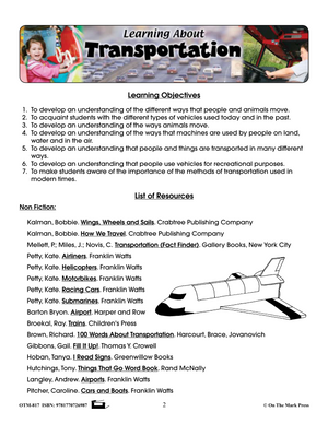 Learning About Transportation Grade 1