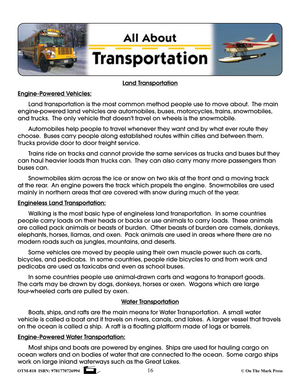 All About Transportation Grade 2