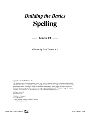 Spelling Grades 3/4:Building the Basics Workbook