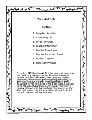 Zoo Animals Grades 1-2 book