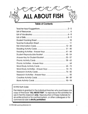 All About Fish Grades 4-6
