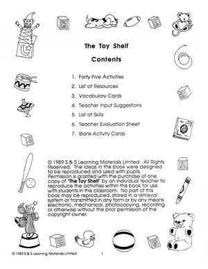 The Toy Shelf Grades Prek-K