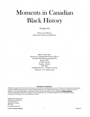 Moments in Canadian Black History Grades 5-8