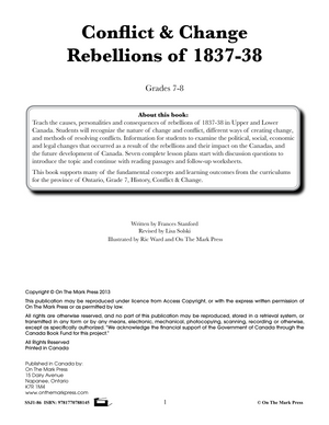 Conflict & Change - Rebellions of 1837-38 Grades 7-8