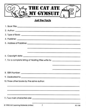 The Cat Ate My Gymsuit: Novel Study Guide Gr. 4-6