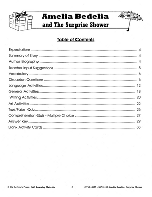 Amelia Bedelia And The Surprise Shower: Novel Study Guide Gr. 1-3