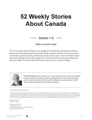 52 Weekly Stories About Canada Grades 1-2