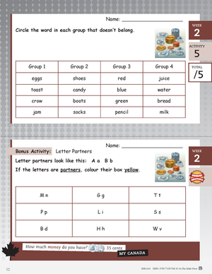 Canadian Daily Language Activities Grade 1