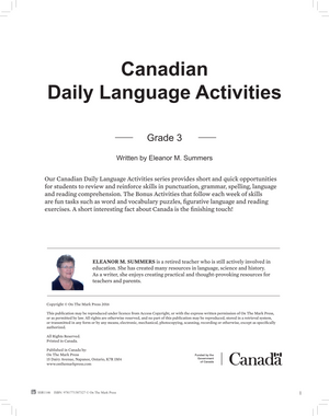 Canadian Daily Language Activities Grade 4