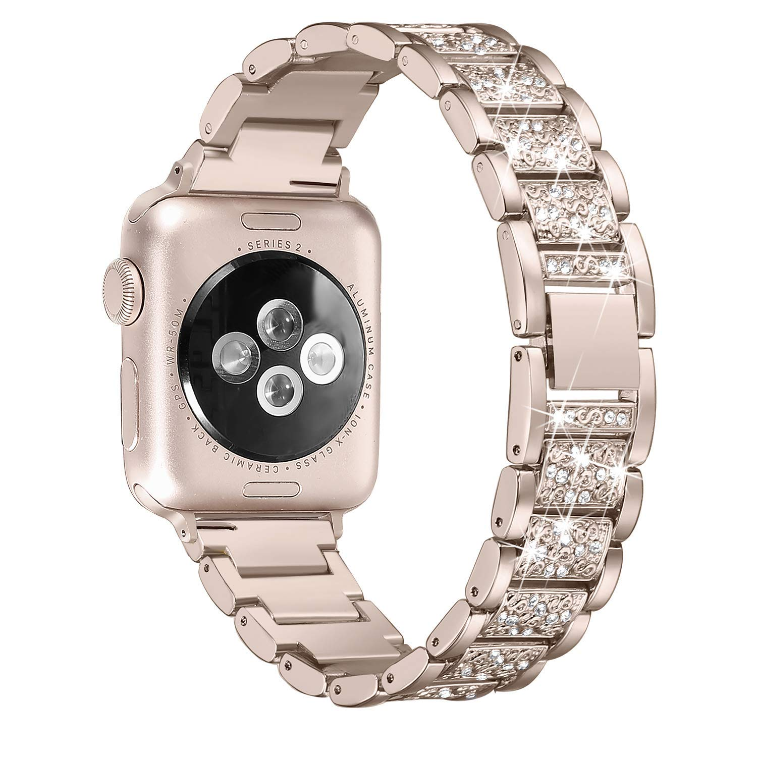 For Apple Watch band 40mm 44mm 38mm 42mm women Diamond Band with case for iWatch series 5 4 3 2 1 bracelet stainless steel strap