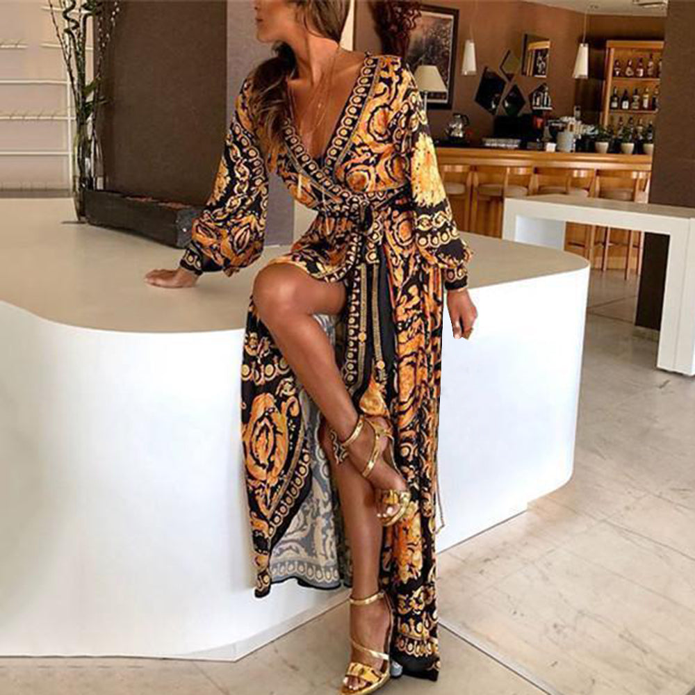 LASPERAL Women Floral Print Spring Boho Dresses 2020 New Long Sleeve V Neck Long Dress Party Beach Holiday Club Dresses Sundress