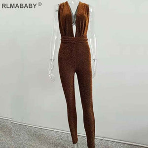 RLMABABY Shiny Deep V Neck Backless Bandage Rompers Womens Jumpsuit Slim Sleeveless Club Bodycon Overalls Sexy Women Jumpsuit