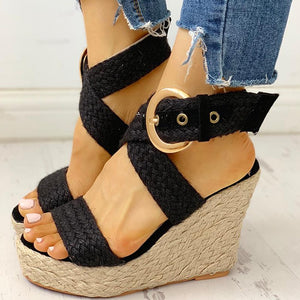 INS Hot Sale Large Size 43 Bohemian Style Leisure Women Wedges Shoes 2019 Summer Sandals Party Platform High Heels Shoes Woman