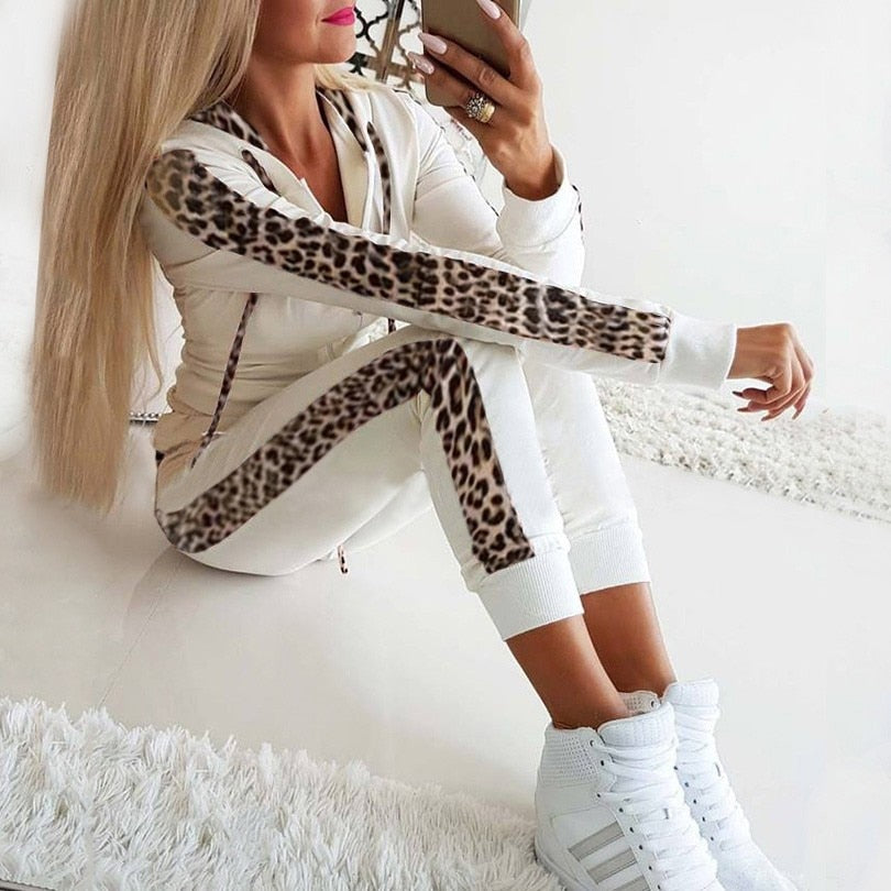 Women's Leopard Tracksuit Print Drawstring Sexy Casual Two-piece Jogging + Sweatshirt Female Winter Suit