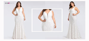 Plus Size Prom Dresses 2020 Ever Pretty EP08838 Elegant Mermaid Lace Sleeveless V-neck Long Party Gowns Sexy Wedding Guest Gowns