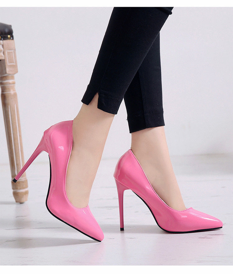 2020 HOT Women Shoes Pointed Toe Pumps Patent Leather Dress Shoes High Heels Boat Shoes Wedding Shoes Zapatos Mujer
