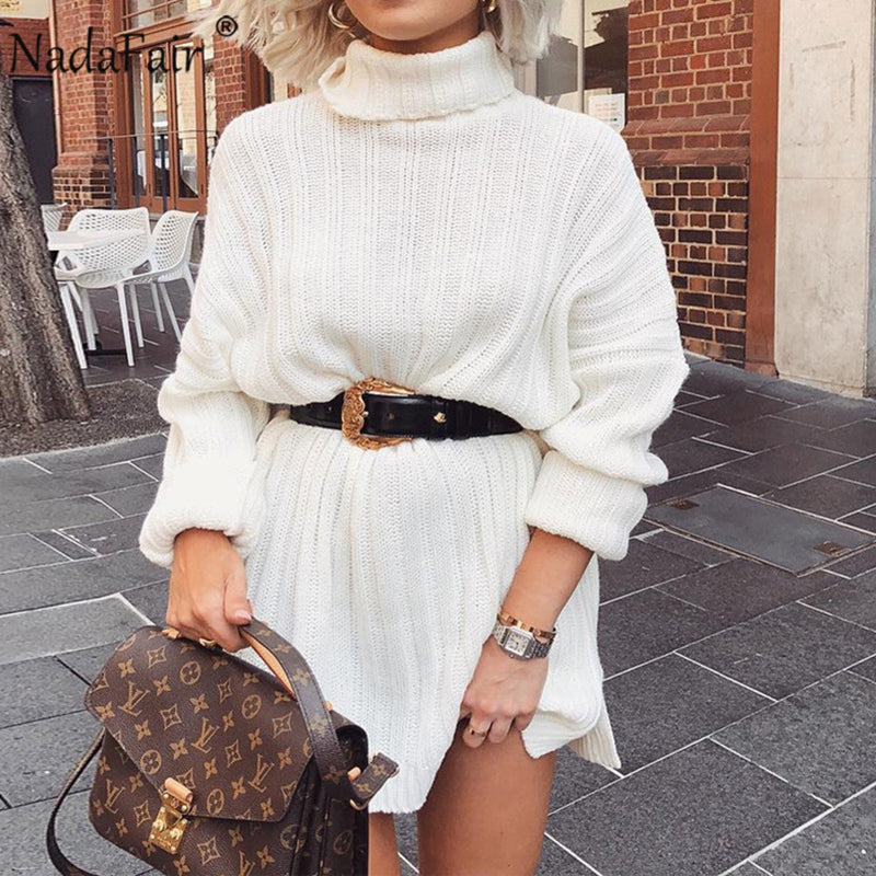 Nadafair White Sweater Dresses 2020  Solid Long Sleeve Mini Casual Loose Turtleneck Knitted Winter Dress Women Vestidos