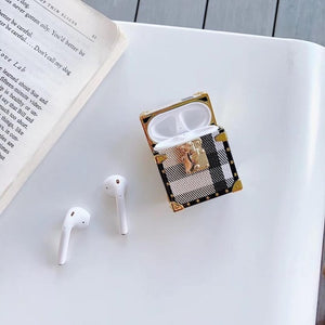 Luxury Square Metal Rivet Earphone Case for Apple Airpods 1/2 INS Retro Striped Grid Stand Earbud Case Protect Shockproof Case