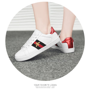 2020 Autumn Fashion Girls Casual Shoes Girl Sneakers Brand Shoe All-match Bee Embroidered Breathable Flat Leather Shoes