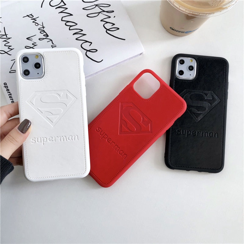 Hot Superhero Superman phone case for iphone 11 Pro X XS XR MAX 6 6S 7 8 plus luxury 3D Embossing Soft leather white cover coque