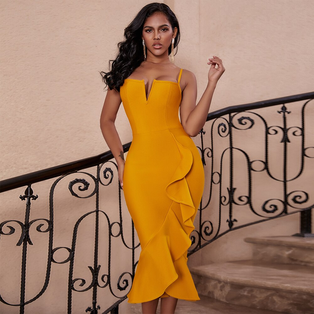 Ocstrade Mermaid Bandage Vestido Midi 2020 Sexy New Arrival  Ginger Yellow Rayon Women Sleeveless Bandage Bodycon Party Dresses